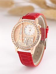 Women's Fashion Watch Simulated Diamond Watch Imitation Diamond Quartz PU Band White Blue Red Brown Green Purple