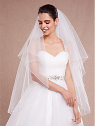 Wedding Veil Two-tier Blusher Veils Fingertip Veils Pencil Edge Tulle White Ivory