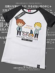 Inspirado por Monstro Digital / Digimons Fantasias Anime Fantasias de Cosplay Cosplay T-shirt Estampado Amarelo Manga Curta Japonesa/Curta