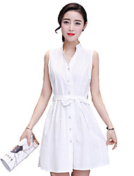 Women's Simple Solid A Line / Shirt Dress,Shirt Collar Mini Polyester