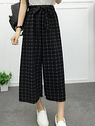 Pantalon Aux femmes Large / Droit / Ample Décontracté / Plage Coton / Polyester Non Elastique