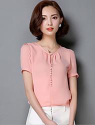 Damen Solide Übergröße / Street Schick Lässig/Alltäglich T-shirt,Rundhalsausschnitt Frühling Kurzarm Rosa / Rot / Weiß / Gelb Nylon Mittel