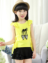 Girl's Cotton Summer High-heeled Shoes Adornment Lace Coattail Short Sleeve Tee