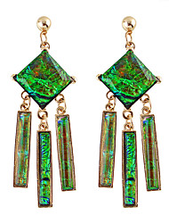 Green Imitation Gemstone  Drop Earrings