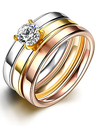 2016 3pcs Luxury Noble Simple Zricon Titanium Steel Wedding Ring Set