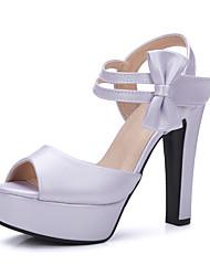 Damen High Heels Pumps PU Frühling Sommer Hochzeit Kleid Party & Festivität Pumps Schleife Blockabsatz Weiß Beige Purpur Blau Rosa12 cm &