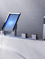 LED / Cascade / Douchette inclue-Robinet de baignoire / Robinet lavabo-Contemporain- enLaiton