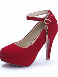 Women's Chain Bruckle Chucky Heel / Round Toe Solid Color Heels Dark Blue / Black / Red