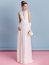 Lanting Bride® Sheath / Column Wedding Dress Floor-length Bateau Chiffon with Lace / Sash / Ribbon / Side-Draped