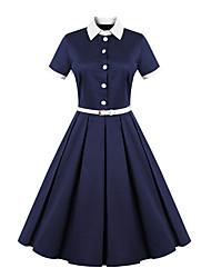 Robe Femme Décontracté / Quotidien Grandes Tailles Vintage,Couleur Pleine Col Arrondi Mi-long Manches Courtes Bleu Coton Polyester Eté