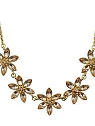 Beautiful Rhinestone Statement Flower Necklace