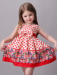 Girl's Multi-color / Red Dress,Print Rayon Summer / Spring / Fall