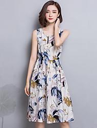 Women's Vintage Floral Sheath Dress,Round Neck Knee-length Linen