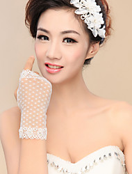 Wrist Length Fingerless / Fingertips Glove Nylon Bridal Gloves / Party/ Evening Gloves Spring / Fall / Winter Ivory lace