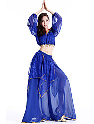 Belly Dance Outfits Women's Performance Chiffon Sequins 2 Pieces Blue / Fuchsia / Light Blue / Purple / Red / Yellow
