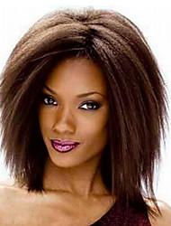 más vendido de Europa y los Estados Unidos un color marrón teñido de poliéster peluca el estigma de pelucas de pelo fleeciness perm