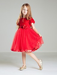 Ball Gown Knee-length Flower Girl Dress-Tulle / Polyester Sleeveless