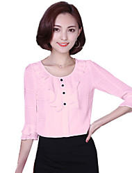 Summer Women's Fashion Flounced Round Neck 1/2 Sleeve Slim Casual Chiffon Shirt Blouse Tops