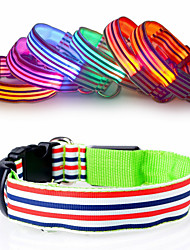 New fashion Nylon Stripe LED Luminous Pet Dog Collar size S-XL for Large and Small Dogs Puppy LED Flashing Collar Safety