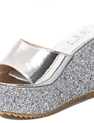 Women's Shoes Tulle Platform Slippers Sandals / Slippers Outdoor / Dress / Casual Silver / Gold