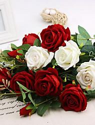 trois têtes roses de soie fleurs artificielles multicolores 1pc option / set