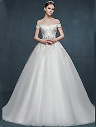 Ball Gown Wedding Dress-White Court Train Off-the-shoulder Tulle