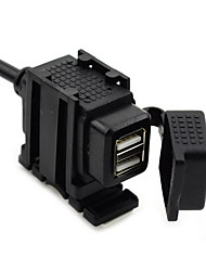 jtron водонепроницаемый мотоцикл двойной USB автомобильное зарядное устройство - черный (12 ~ 24v)