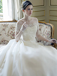 A-line Wedding Dress-White Cathedral Train Off-the-shoulder Lace / Satin / Tulle