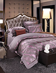 Silver gray  Luxury Silk Cotton Blend Duvet Cover Sets Queen King Size Bedding Set