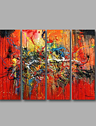 """Stretched (Ready to hang) Hand-Painted Oil Painting 48""""x36"""" Canvas Wall Art Modern Abstract Home Deco Red Black"""
