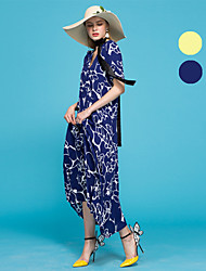 Europrimo® Damen V-Ausschnitt Kurze Ärmel Maxi Kleid-EUFCZ628