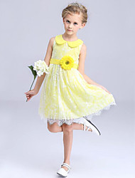 Girl's Blue / Yellow Dress Polyester Summer
