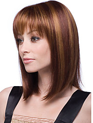 Women 12inch Bobo Short Cosplay Straight Synthetic Hair Wig Full Bang Brown Beige Mixcolor with Free Hair Net