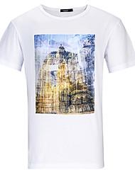 Lesmart Hombre Escote Redondo Manga Corta Camiseta Blanco-TKS1603