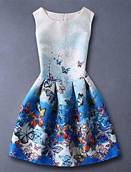 Mädchen Kleid-Kunstseide Ganzjährig Blau