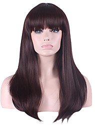22inch Women Long Straight Synthetic Hair Wigs Dark Brown Full Bang with Free Hair Net