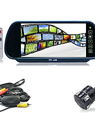 "7"" LCD Car Rear View Reverse Mirror Monitor + Wireless IR Backup Camera Cam Kit"