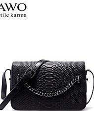 NAWO Women Cowhide Shoulder Bag Black / Burgundy-N154481