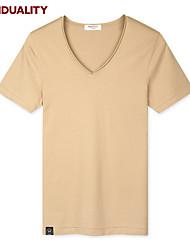 Trenduality® Hommes Col en V Manche Courtes T-shirt Kaki-43093