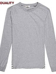 Trenduality® Hombre Escote Redondo Manga Larga Camiseta Gris-63012