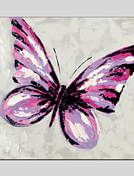 Purple Butterfly Style Canvas Material Oil Paintings with Stretched Frame Ready To Hang Size 70*70CM.