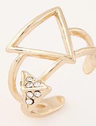 Women's New European Style Boutique Sweet Geometric Triangle Rhinestone Adjustable Ring