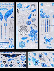 5-Séries bijoux / Séries animales / Séries de fleur / Séries de totem / Autres-Bleu / Argenté-Motif-10.2 * 21cm-Tatouages Autocollants-