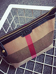 Women Canvas Casual Cosmetic Bag-Brown 26cm*13cm