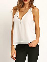 Damen Solide Sexy / Boho Strand Bluse,V-Ausschnitt Ärmellos Weiß Polyester Dünn