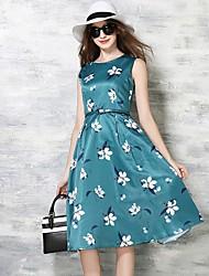 De las mujeres Línea A Vestido Simple Floral Midi Escote Redondo Poliéster