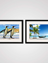 Two Penguins Hand in Hand and the Seascape Printed Canvas Art Set of 2 for Bedroom Decoration  Ready To Hang