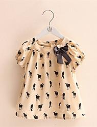 Katoen-Zomer-Girl's-T-shirt-Beige