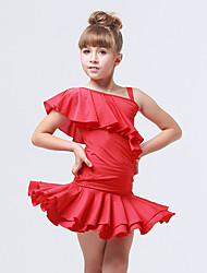 Kids' Dancewear Outfits Children's Training Spandex Polyester Ruffles Ruched 2 Pieces Sleeveless Top Skirt