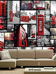 Modern Shinny Leather Effect Large Mural Wallpaper Grey Building And Red Bus Art Wall Decor